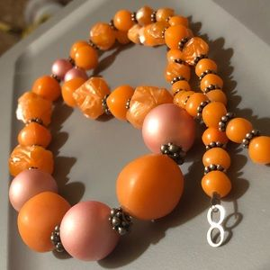 Long Pink & Orange Carved Celluloid? Necklace